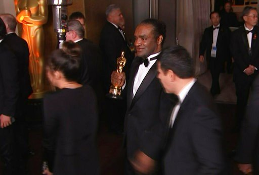 (AP Photo/Jeff Turner). This Sunday, March 4, 2018, still image from AP video appears to show the man who authorities say stole Frances McDormand's best actress Oscar walking out of the official Academy Awards after-party in Los Angeles.