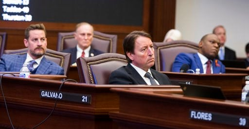(AP Photo/Mark Wallheiser). Florida Sens., from left, Greg Steube, David Simmons, Bill Galvano and Randolph Bracy listen as Sen. Lauren Book makes an impassioned plea for passage of the Marjory Stoneman Douglas High School Student Safety Act.