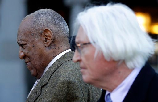(AP Photo/Matt Slocum). Bill Cosby, left, and attorney Tom Mesereau depart a pretrial hearing in Cosby's sexual assault case at the Montgomery County Courthouse, Monday, March 5, 2018, in Norristown, Pa.