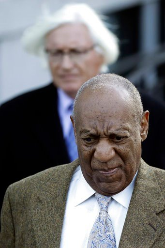 (AP Photo/Matt Slocum). Bill Cosby, right, and attorney Tom Mesereau depart a pretrial hearing in Cosby's sexual assault case at the Montgomery County Courthouse, Monday, March 5, 2018, in Norristown, Pa.