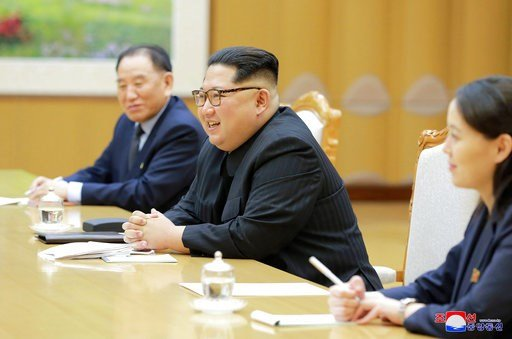(Korean Central News Agency/Korea News Service via AP). In this Monday, March 5, 2018, photo, provided by the North Korean government on March 6, North Korean leader Kim Jong Un, center, his sister Kim Yo Jong, and Vice Chairman of North Korea's ruling...