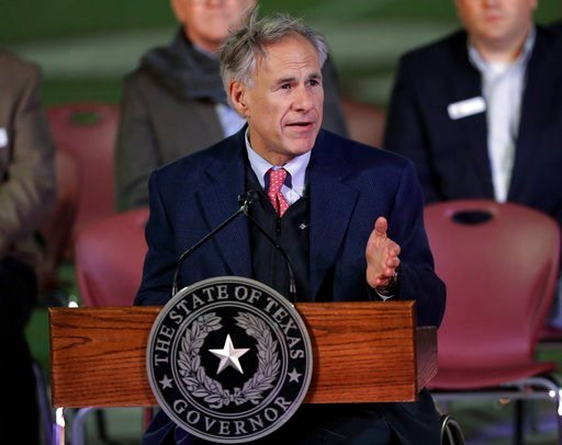 (AP Photo/David J. Phillip, File). FILE - In this Nov. 8, 2017, file photo, Texas Gov. Greg Abbott speaks during a prayer vigil for the victims of the Sutherland Springs First Baptist Church shooting in Floresville, Texas. Texas Democrats have turned o...