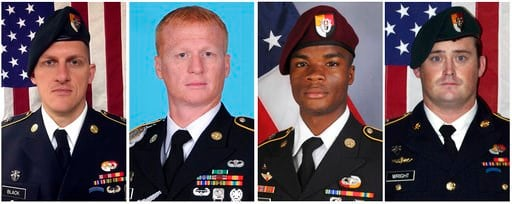 (U.S. Army via AP). These images provided by the U.S. Army show, from left, Staff Sgt. Bryan C. Black, 35, of Puyallup, Wash.; Staff Sgt. Jeremiah W. Johnson, 39, of Springboro, Ohio; Sgt. La David Johnson of Miami Gardens, Fla.; and Staff Sgt. Dustin ...