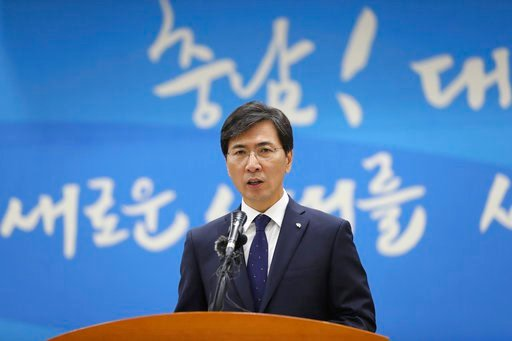 (You Hyo-sang/Newsis via AP). In this Dec. 18, 2017 photo, Ahn Hee-jung, governor of South Chungcheong Province, speaks during a press conference in Hongseong, South Korea. Ahn announced his resignation early Tuesday, March 6, 2018 on Facebook just hou...