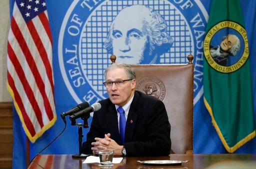 (AP Photo/Ted S. Warren). Washington Gov. Jay Inslee speaks after signing a bill Monday, March 5, 2018, in Olympia, Wash., that makes Washington the first state to set up its own net-neutrality requirements.
