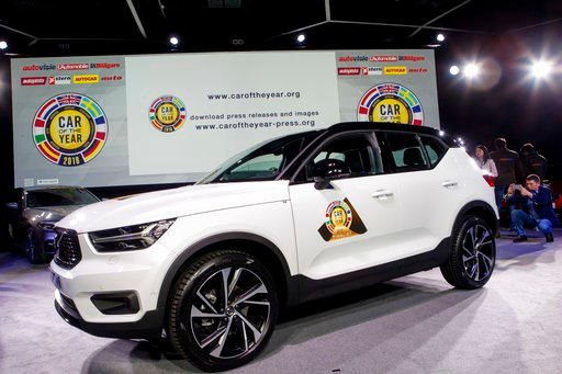 """(Salvatore Di Nolfi/Keystone via AP). The Volvo XC40 model was elected """"Car of the Year 2018"""", ahead of the 88th Geneva International Motor Show, at the Palexpo, in Geneva, Switzerland, Monday, March 5, 2018."""