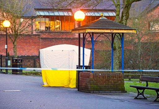 (Steve Parsons/PA via AP). A police tent in The Maltings shopping centre in Salisbury, England Tuesday March 6, 2018 near where Sergei Skripal was found critically ill by exposure to an unknown substance. Skripal, a former Russian spy is in critical co...