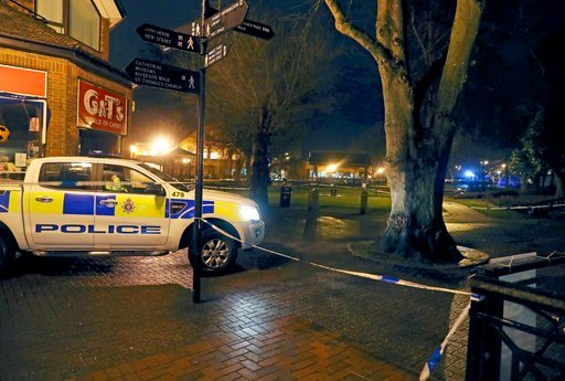 "(Steve Parsons/PA via AP). Police cordon off the area near the Maltings in Salisbury, England, where British media reported Monday, March 5, 2018 that a former Russian spy was in critical condition after coming into contact with an ""unknown substance"" ..."