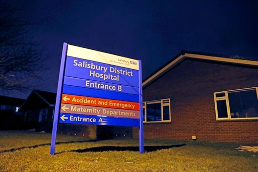 "(Steve Parsons/PA via AP). A view of the sign at Salisbury District Hospital where the British media reported that a former Russian spy was in critical condition after coming into contact with an ""unknown substance,""  in Wiltshire, England,  Monday Mar..."