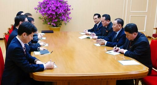 (South Korea Presidential Blue House/Yonhap via AP). In this photo provided by South Korea Presidential Blue House via Yonhap News Agency, Kim Yong Chol, vice chairman of North Korea's ruling Workers' Party Central Committee, second from right, talks w...