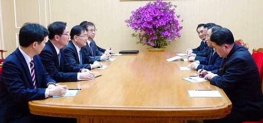 (South Korea Presidential Blue House/Yonhap via AP). In this photo provided by South Korea Presidential Blue House via Yonhap News Agency, South Korean national security director, Chung Eui-yong, third from left, meets with North Korean vice chairman o...