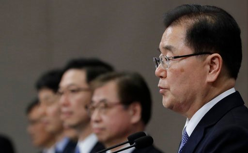 (AP Photo/Lee Jin-man). South Korean delegation head, National Security Director Chung Eui-yong, right, speaks to the media at the presidential Blue House in Seoul, South Korea, Tuesday, March 6, 2018. The delegation led by Chung returned to the South ...