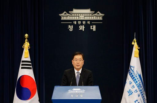 (AP Photo/Lee Jin-man). South Korean delegation head, National Security Director Chung Eui-yong speaks to the media at the presidential Blue House in Seoul, South Korea, Tuesday, March 6, 2018. The delegation led by Chung returned to the South Tuesday ...