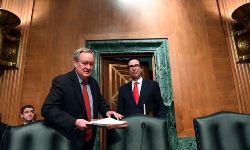 (AP Photo/Susan Walsh, File). FILE - In this Jan. 30, 2018, file photo, Senate Banking Committee Chairman Sen. Mike Crapo, R-Idaho, second from left, arrives with Treasury Secretary Steven Mnuchin, right, at the Senate Banking Committee on Capitol Hill...