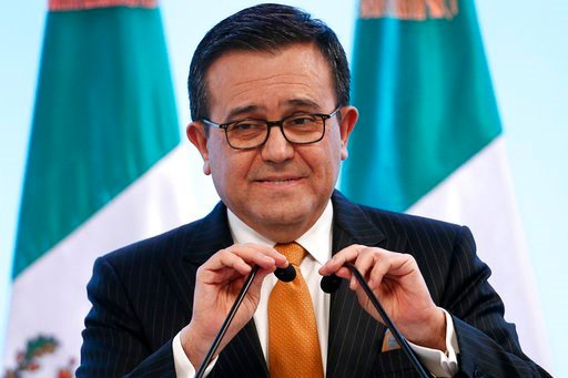 (AP Photo / Marco Ugarte). Mexico's Secretary of Economy Ildefonso Guajardo Villarreal speaks during a press conference regarding the seventh round of NAFTA renegotiations in Mexico City, Monday, March 5, 2018.
