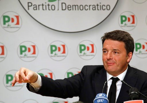 (AP Photo/Alessandra Tarantino). Democratic Party leader Matteo Renzi holds a press conference on the election results, in Rome, Monday, March 5, 2018. With the anti-establishment 5-Stars the highest vote-getter of any single party, the results confirm...