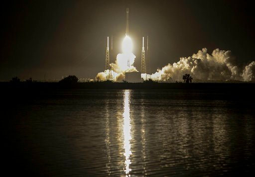 (Craig Bailey/Florida Today via AP). A SpaceX Falcon 9 rocket lifts off early Tuesday, March 6, 2018, from Cape Canaveral Air Force Station, Fla. The rocket is carrying the Hispasat 30W-6 communications satellite.