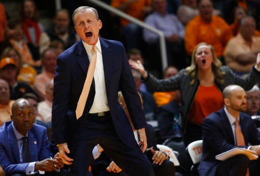 (AP Photo/Crystal LoGiudice). Tennessee coach Rick Barnes reacts to a call during the second half of the team's NCAA college basketball game against Georgia on Saturday, March 3, 2018, in Knoxville, Tenn.