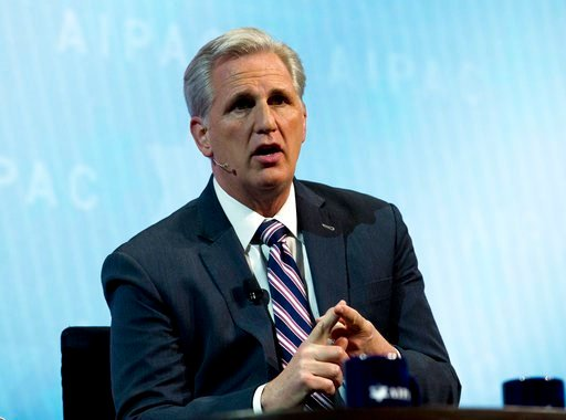 (AP Photo/Jose Luis Magana). House Majority Leader Kevin McCarthy, R-Calif., speaks at the 2018 American Israel Public Affairs Committee (AIPAC) policy conference, at Washington Convention Center, Monday, March 5, 2018, in Washington.