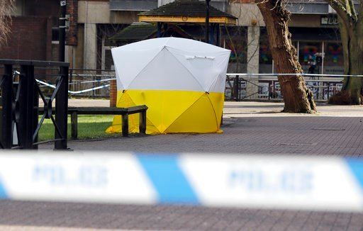 """(AP Photo/Frank Augstein). A police tent covers the the spot in Salisbury, England, Tuesday, March 6, 2018, where former Russian spy double agent Sergei Skripal and his companion were found critically ill Sunday following exposure to an """"unknown substa..."""