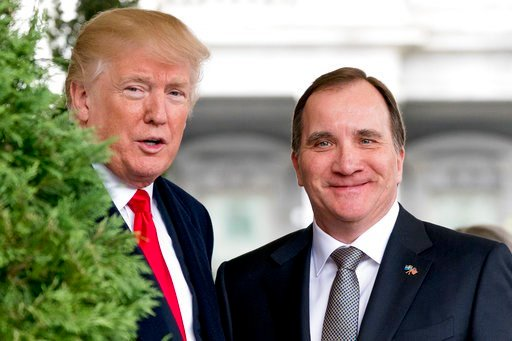 (AP Photo/Andrew Harnik). President Donald Trump greets Swedish Prime Minister Stefan Lofven as he arrives at the White House, Tuesday, March 6, 2018, in Washington.