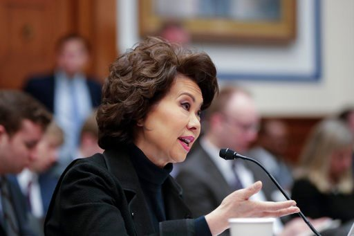 (AP Photo/J. Scott Applewhite). Transportation Secretary Elaine Chao testifies before the House Transportation and Infrastructure Committee on President Donald Trump's trillion-dollar-plus plan to boost infrastructure, on Capitol Hill in Washington, Tu...
