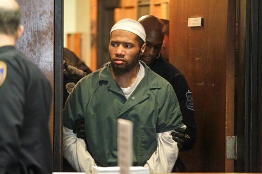 (Patti Sapone/NJ Advance Media via AP, Pool, File). File - In this Jan. 20, 2016, file photo, Ali Muhammad Brown, of Seattle, is escorted into court in Newark, N.J.  The prosecutor's office in Essex County, N.J., said Tuesday, March 6, 2018, that Brown...