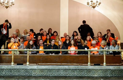 (AP Photo/Ted S. Warren). People wearing orange to oppose gun violence sit in a gallery of the Washington Senate, Tuesday, March 6, 2018, at the Capitol in Olympia, Wash. Later in the day Gov. Inslee was scheduled to sign a bill banning the sale and po...