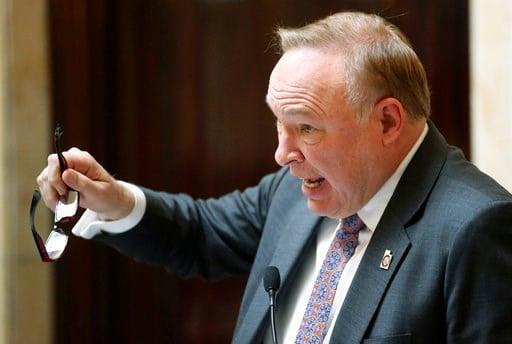 (AP Photo/Rick Bowmer, File). FILE - In this Feb. 20, 2018, file photo, Sen. Jim Dabakis, D-Salt Lake City, speaks on the Senate floor at the Utah State Capitol, in Salt Lake City. Utah Democrats are pushing back on a proposal to rename a scenic highwa...