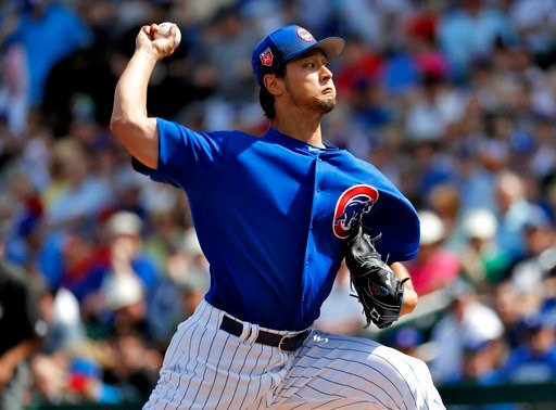 (AP Photo/Matt York). Chicago Cubs pitcher Yu Darvish throws during the first inning of a spring training baseball game against the Los Angeles Dodgers, Tuesday, March 6, 2018, in Mesa, Ariz.