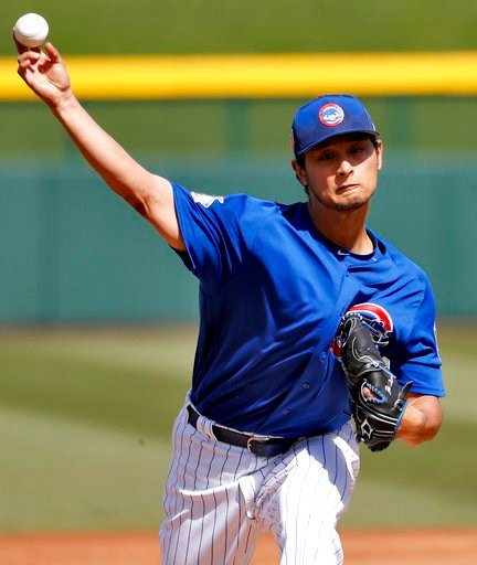 (AP Photo/Matt York). Chicago Cubs pitcher Yu Darvish warms up during the first inning of a spring training baseball game against the Los Angeles Dodgers, Tuesday, March 6, 2018, in Mesa, Ariz.
