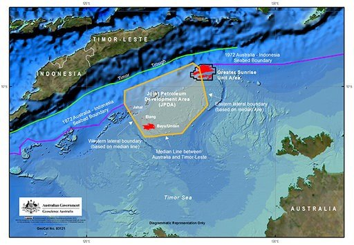 (Department of Foreign Affairs and Trade via AP). This undated map provided by the Australian Department of Foreign Affairs and Trade shows Australia's maritime arrangements with East Timor. Australia and East Timor will sign a treaty that draws the fi...