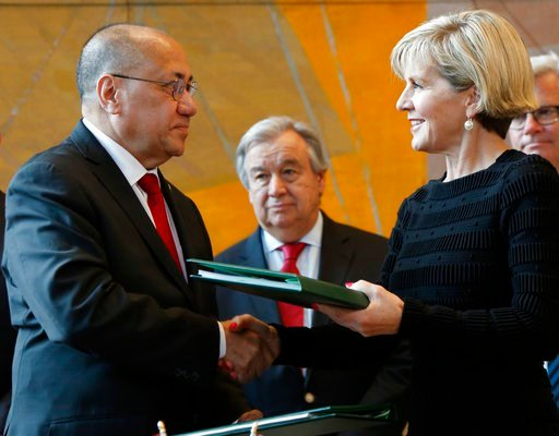 (AP Photo/Seth Wenig). While United Nations Secretary-General Antonio Guterres, center, looks on, East Timorese Minister of State Agio Pereira shakes hands with Australian Foreign Minister Julie Bishop after they signed a treaty during a ceremony at Un...