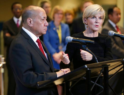 (AP Photo/Seth Wenig). East Timor's Deputy Minister of the Prime Minister for the Delimitation of Borders Agio Pereira and Australian Foreign Minister Julie Bishop talk to reporters after they signed a treaty during a ceremony at United Nations headqua...