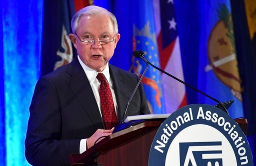 (AP Photo/Susan Walsh, file). FILE -- In this Tuesday Feb. 27, 2018 file photo is Attorney General Jeff Sessions speaking at the National Association of Attorneys General Winter Meeting in Washington. Sessions will speak before the California Peace Off...