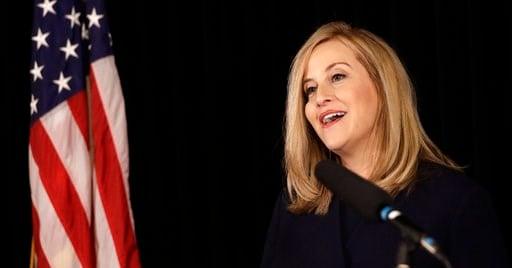 (AP Photo/Mark Humphrey). Nashville Mayor Megan Barry announces her resignation Tuesday, March 6, 2018, in Nashville, Tenn.