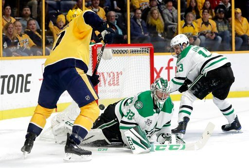 (AP Photo/Mark Humphrey). Dallas Stars goalie Kari Lehtonen (32), of Finland, and Mattias Janmark (13), of Sweden, defend the net against Nashville Predators left wing Scott Hartnell (17) in the second period of an NHL hockey game Tuesday, March 6, 201...