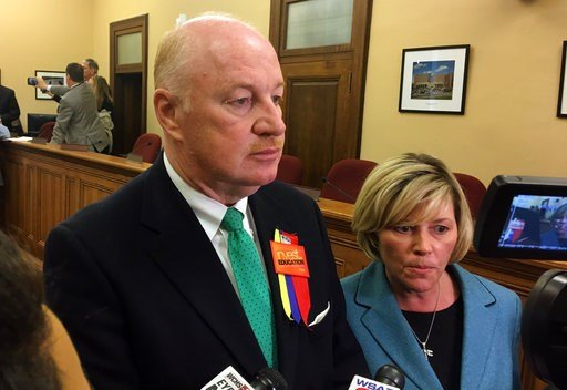 (AP Photo/John Raby). West Virginia Education Association President Dale Lee, left, and American Federation of Teachers' West Virginia chapter President Christine Campbell talk to reporters.