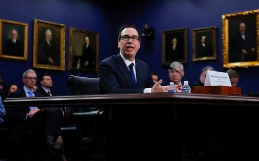 "(AP Photo/Carolyn Kaster). Treasury Secretary Steven Mnuchin testifies during a hearing before the House Appropriations subcommittee on budget on Capitol Hill in Washington, Tuesday, March 6, 2016, about ""Financial Services and General Government."""