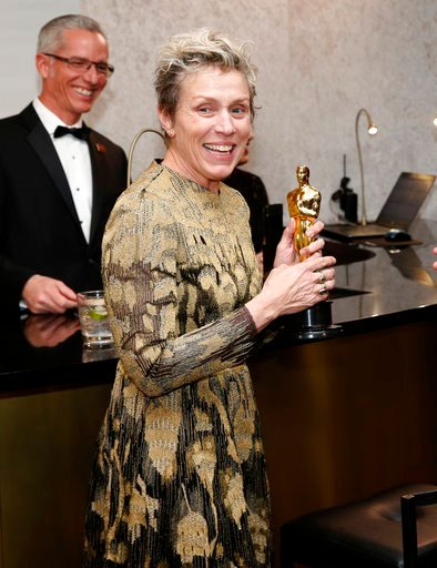 "(Photo by Eric Jamison/Invision/AP). Frances McDormand, winner of the award for best performance by an actress in a leading role for ""Three Billboards Outside Ebbing, Missouri"", attends the Governors Ball after the Oscars on Sunday, March 4, 2018, at t..."