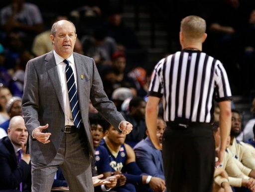(AP Photo/Frank Franklin II). Pittsburgh head coach Kevin Stallings argues a call with a referee during the first half of an NCAA college basketball game against Notre Dame in the first round of the Atlantic Coast Conference tournament Tuesday, March 6...
