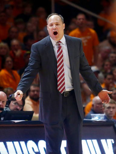 (AP Photo/Crystal LoGiudice). Georgia coach Mark Fox yells to his team during the second half of an NCAA college basketball game against Tennessee on Saturday, March 3, 2018, in Knoxville, Tenn.