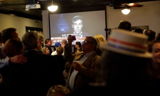 (AP Photo/Eric Gay). U.S. Senate hopeful Beto O'Rourke is seen on a television during a Democratic watch party following the Texas primary election, Tuesday, March 6, 2018, in Austin, Texas.