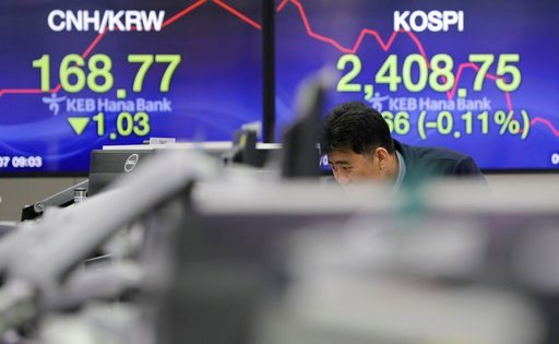 (AP Photo/Lee Jin-man). A man watches computer monitors near the screens showing the Korea Composite Stock Price Index (KOSPI), right, and the foreign exchange rate at the foreign exchange dealing room in Seoul, South Korea, Wednesday, March 7, 2018. A...