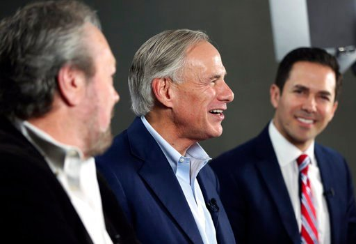 (Rose Baca/The Dallas Morning News via AP). Texas Gov. Greg Abbott, middle, speaks alongside WBAP radio host Rick Roberts, left, and Alex Trevino, Abbott's campaign spokesperson, during a Facebook Live for his office after clinching the Republican nomi...