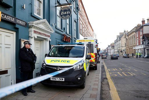 (Andrew Matthews/PA via AP). A policeman stands outside the Zizzi restaurant in Salisbury, England Wednesday, March 7, 2018 near to where former Russian double agent Sergei Skripal was found critically ill. Britain's counterterrorism police took over a...