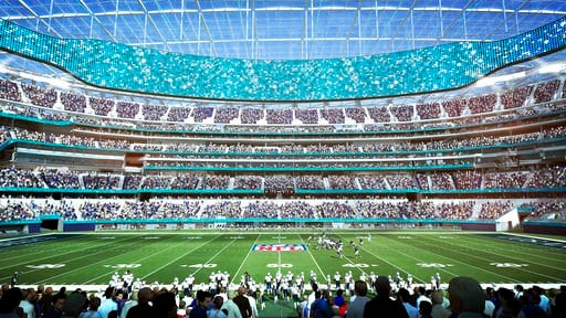 (LA Stadium at Hollywood Park via AP). This architectural rendering provided by LA Stadium at Hollywood Park shows the midfield seating view of the future home of the National Football League's Los Angeles Rams and Los Angeles Chargers. The teams will ...
