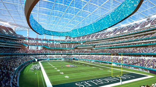 (LA Stadium at Hollywood Park via AP). This architectural rendering provided by LA Stadium at Hollywood Park shows the south east seating view of the National Football League's Los Angeles Rams and Los Angeles Chargers. The teams will begin selling sea...