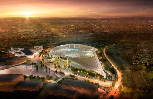 (LA Stadium at Hollywood Park via AP). This architectural rendering provided by LA Stadium at Hollywood Park shows the south aerial perspective of the future home of the NFL's Los Angeles Rams and Los Angeles Chargers. The teams will begin selling seas...