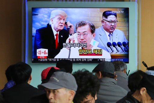 (AP Photo/Ahn Young-joon). People watch a TV screen showing images of North Korean leader Kim Jong Un, right, South Korean President Moon Jae-in, center, and U.S. President Donald Trump at the Seoul Railway Station in Seoul, South Korea, Wednesday, Mar...